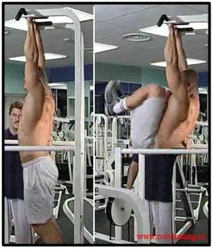 Подъем ног в висе - упражнение для нижнего пресса. . Хват узкий, подъем но